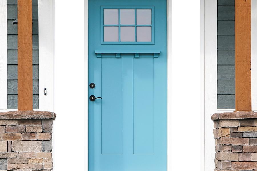Aqua front door in Saint Clair Shores, MI.